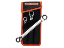 Bahco Reversible Ratchet Spanners Set 3 Piece 8 - 19mm