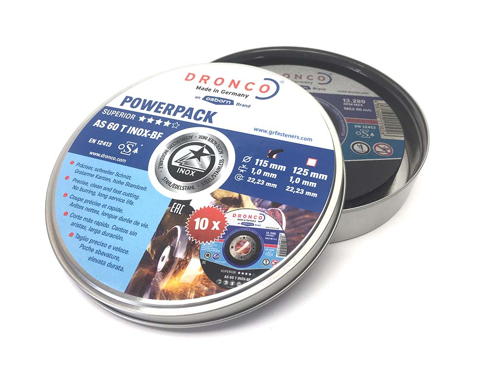Dronco AS 60 T 115mm Thin Cutting Disc Unsealed Tin
