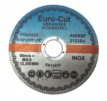 Euro-Cut Stainless Metal Cutting Disc 115mm x 1mm