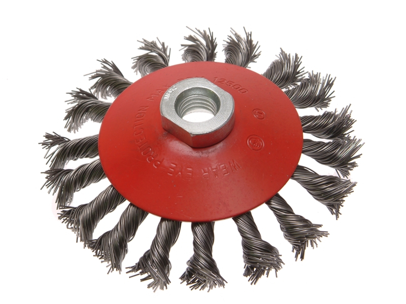 Faithfull Conical Wire Brush 100mm M14 Bore 0.50mm Wire