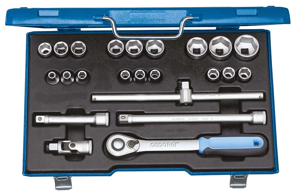 Gedore 19 EMU-20 Socket set 1/2inch, 23 pcs hex 8-32 mm