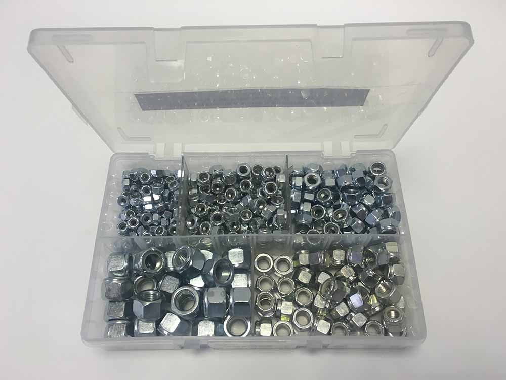 Assorted UNC Nylon Insert Nuts 3/16inch-1/2inch (340 Pieces)