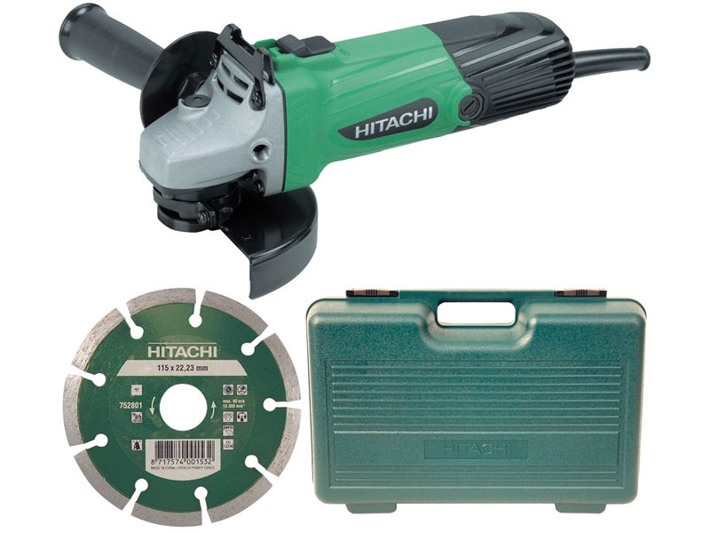 Hitachi G12SSCD 115mm Grinder with Diamond Blade & Case 240