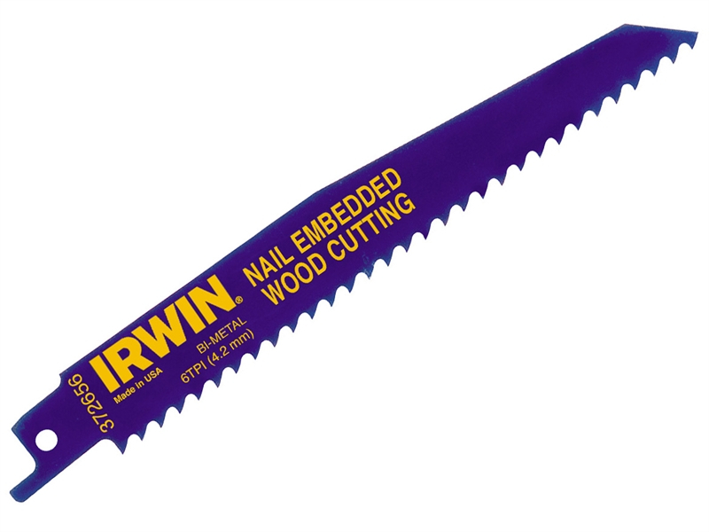 Irwin 656R 150mm Sabre Saw Blade Nail Embedded Wood