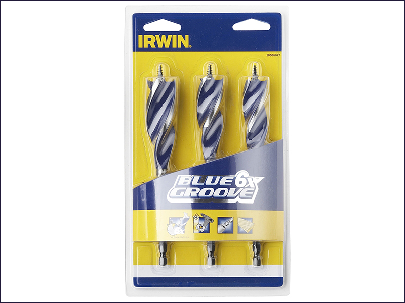 Irwin 6X Blue Groove Wood Drill Bit Set 3 Piece 20-25mm
