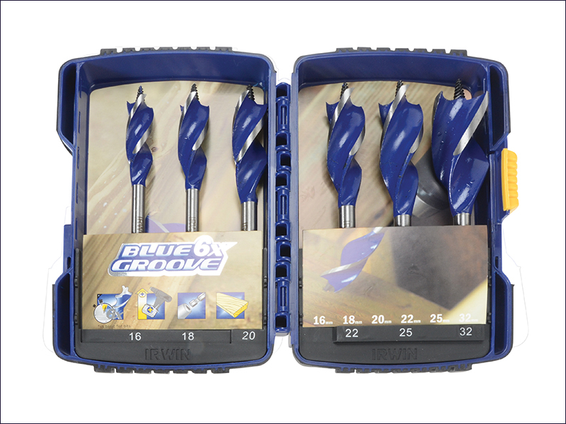 Irwin 6X Blue Groove Wood Drill Bit Set 6 Piece 16-32mm