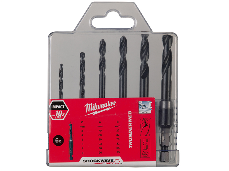 Milwaukee HSS-G THUNDERWEB Met al Drill Bit Set of 6 (1/4 Hex