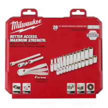 Milwaukee Metric Socket Set + Ratchet 1/4inchDrive 28pc