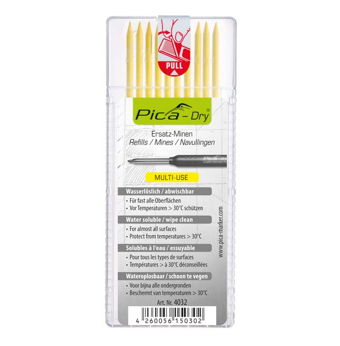 Pica 4032 Dry Refills Yellow Pack Of 10 Leads