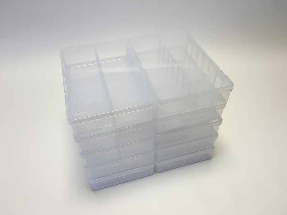 Clear Empty Assorted cases With Dividers Box Of 10