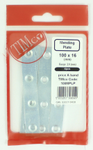 TIMco 100x22 Mending Plate 100mm Pack Bag Of 4