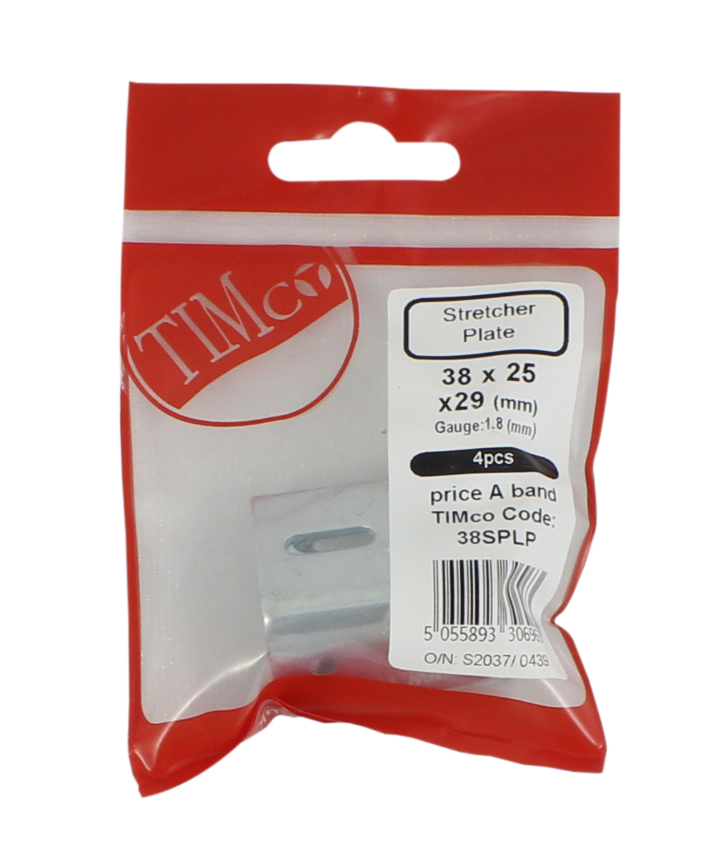 TIMco 38x25x29 Stretcher Plate 38mm Pack Bag Of 4