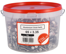 TIMco 65 x 3.35 Clout Nails - Aluminium 1kg Tub