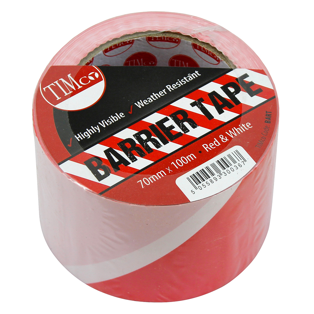 TIMco 100m x 70mm PE Barrier Tape Red/White