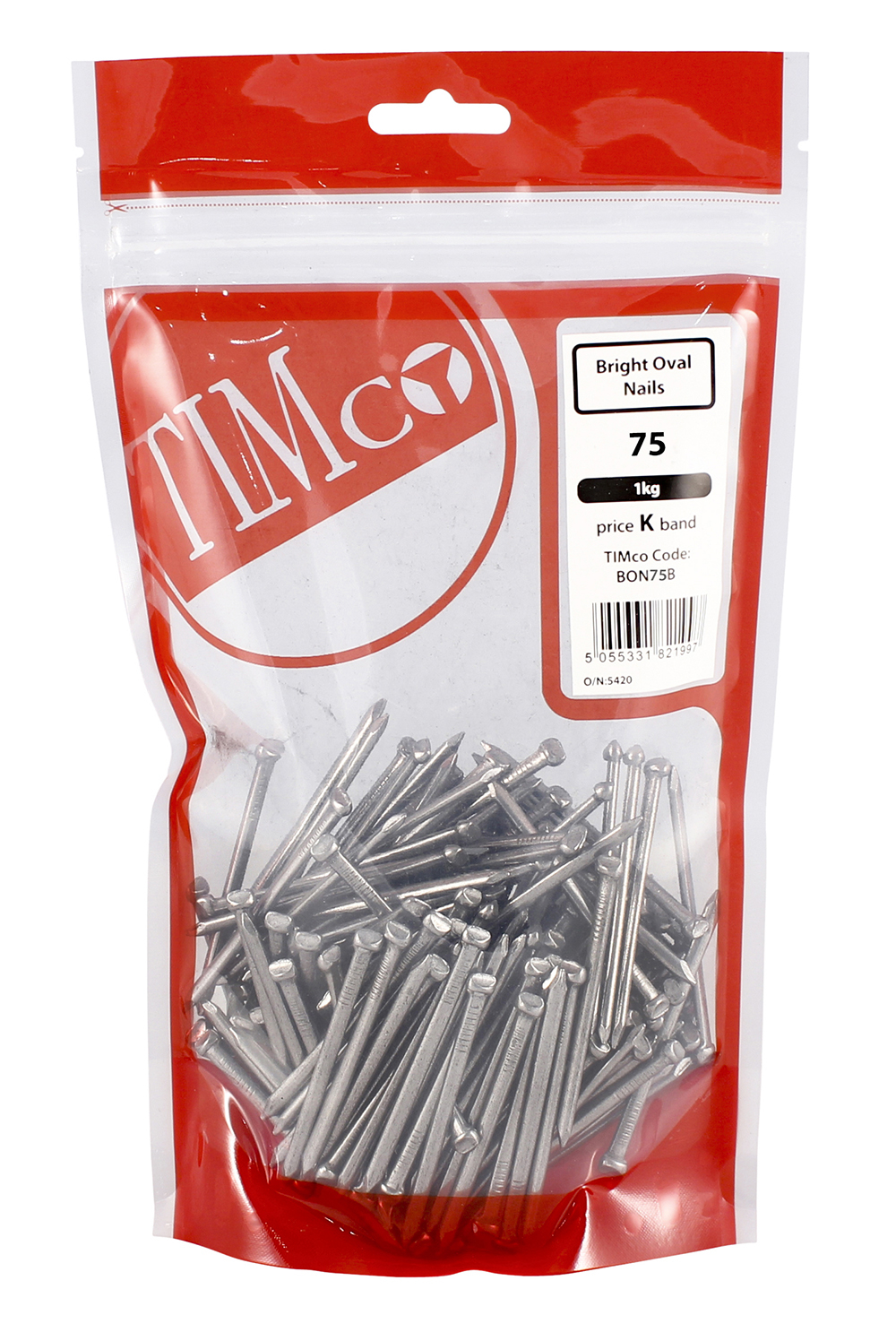 TIMco 75mm Oval Nails - Bright 1kg Bag