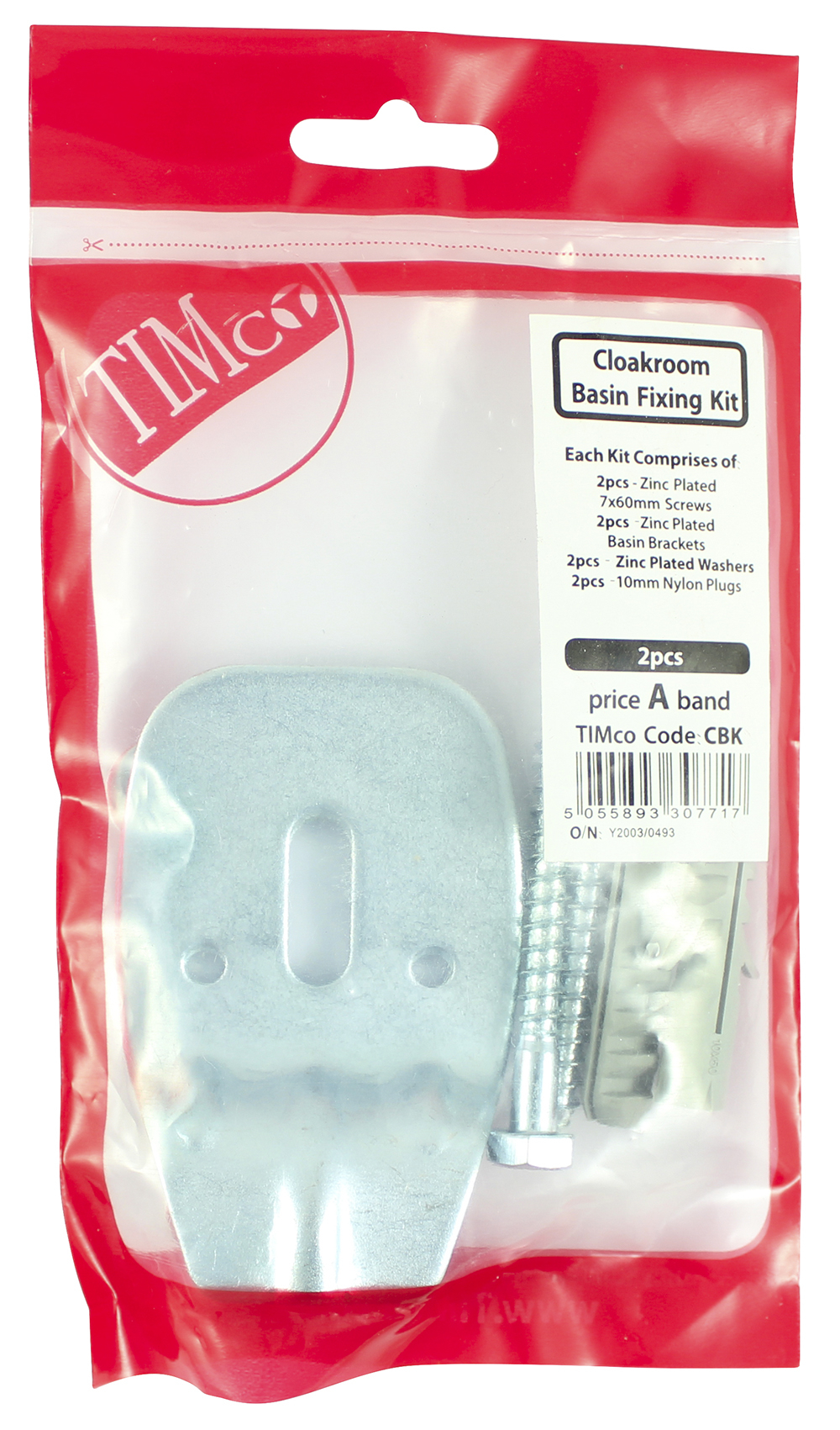 TIMco Cloakroom Kit Cloakroom Basin Fixing Kit Bag Of 2