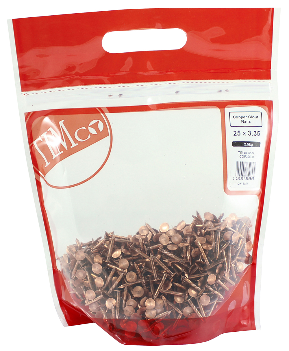 TIMco 25 x 3.35 Clout Nails - Copper 2.5 kg Bag