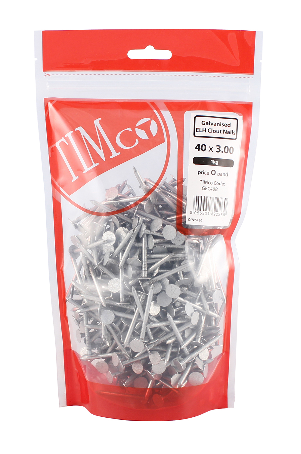 TIMco 40 x 3.00 Clout Nails ELH - Galvanised 1kg Bag