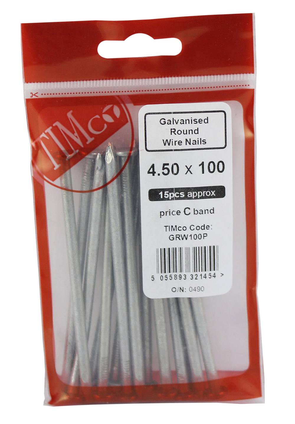 TIMco 100 x 4.50 Galvanised Round Wire Nails Bag Of 15