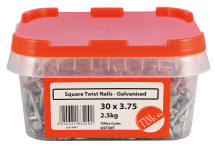 TIMco 30 x 3.75 Square Twist Nail - Galvanised 2.5kg Tub