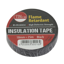 TIMco 25m x 18mm PVC Insulation Tape - Black Pack Of 10