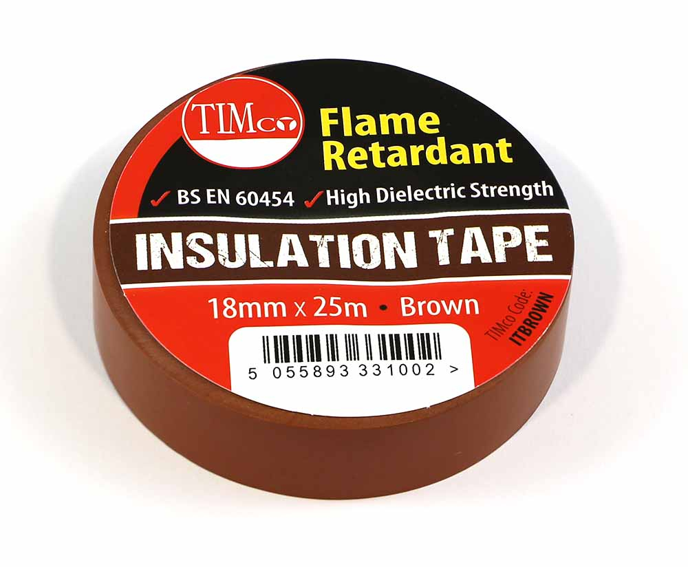 TIMco 25m x 18mm PVC Insulation Tape - Brown Pack Of 10