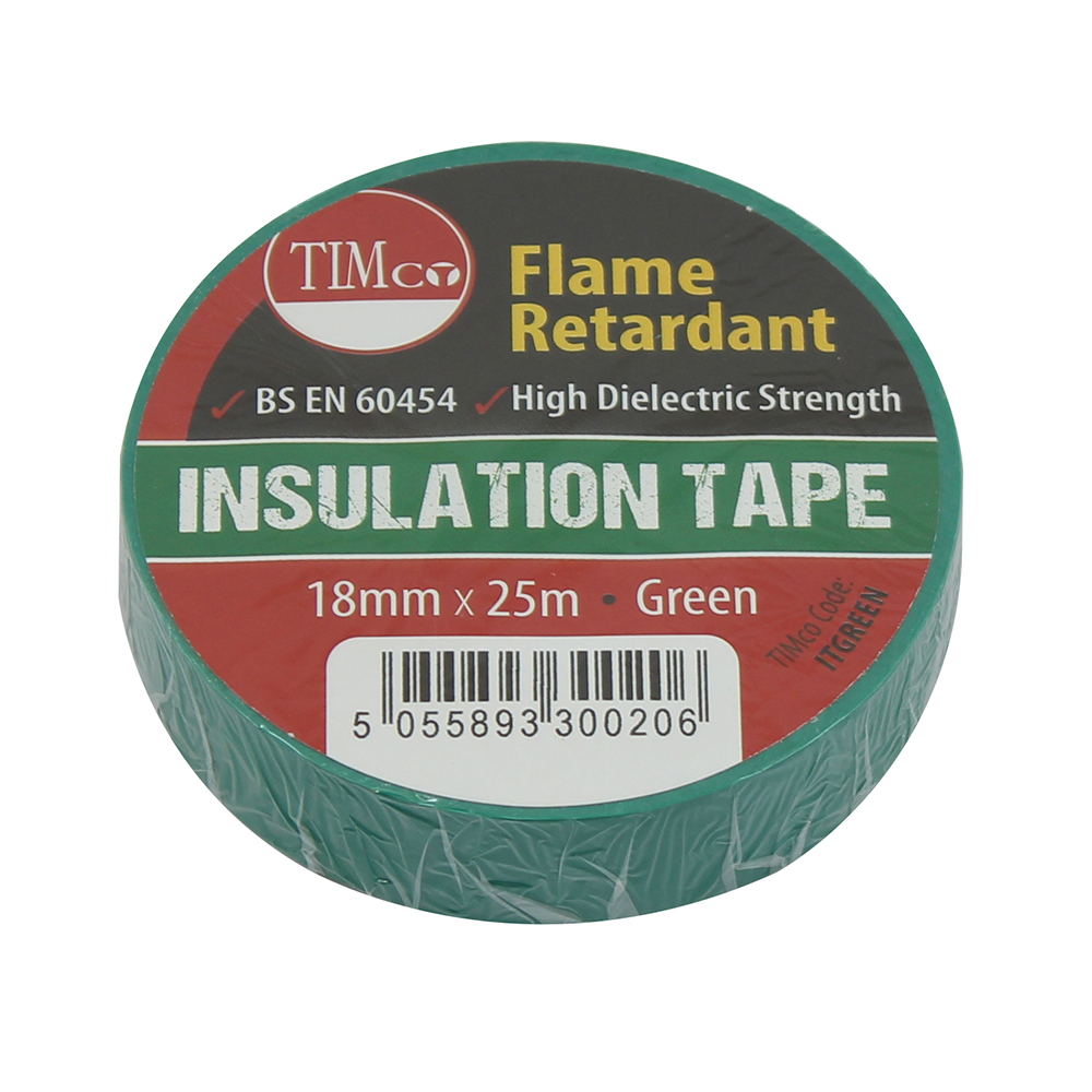 TIMco 25m x 18mm PVC Insulation Tape - Green Pack Of 10