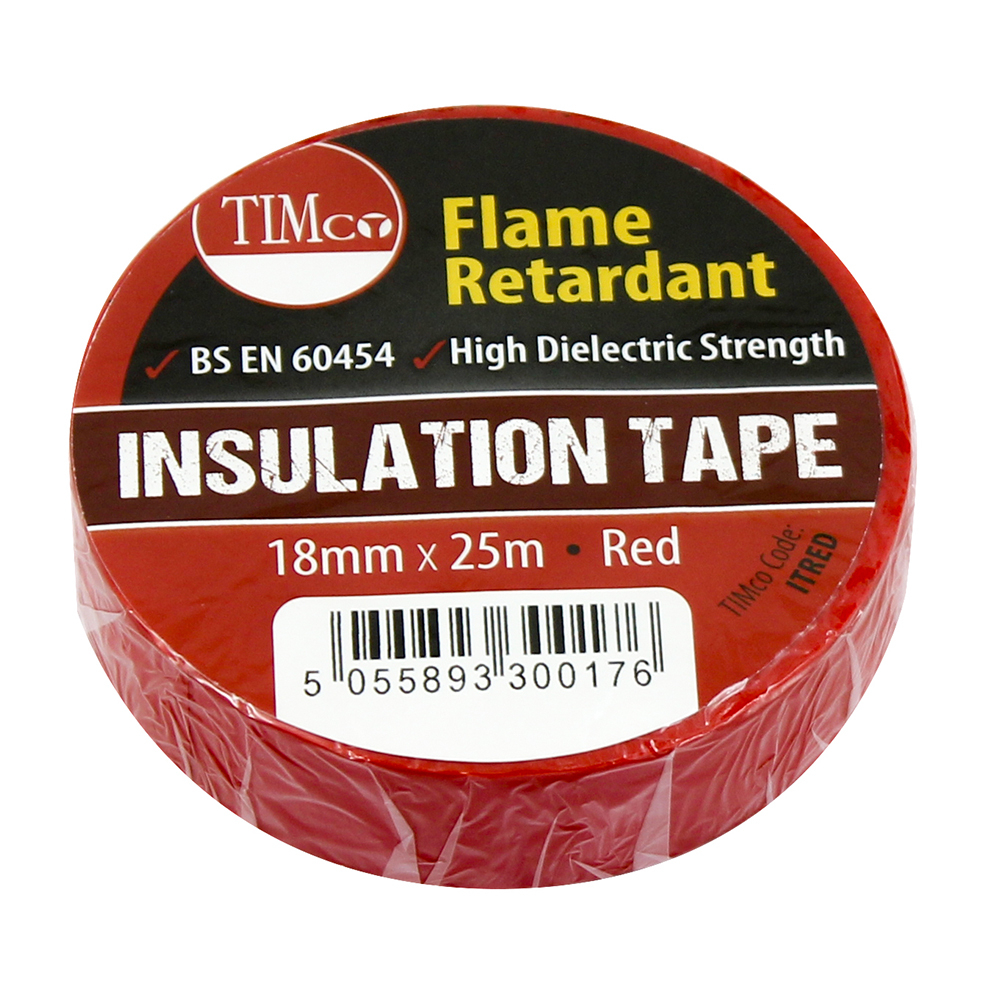 TIMco 25m x 18mm PVC Insulation Tape - Red Pack Of 10