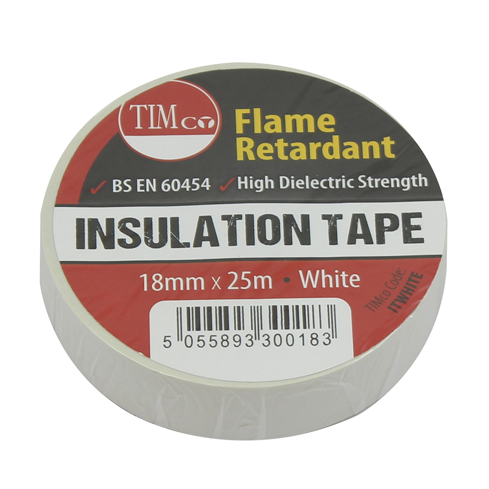 TIMco 25m x 18mm PVC Insulation Tape - White Pack Of 10