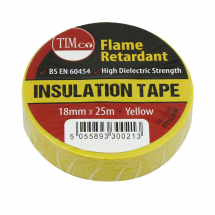 TIMco 25m x 18mm PVC Insulation Tape - Yellow Pack Of 10