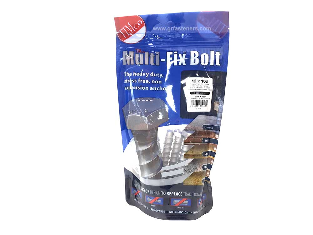 TIMco 12 x 100/M14 Multi-Fix Bolt Hex Head Bag Of 8