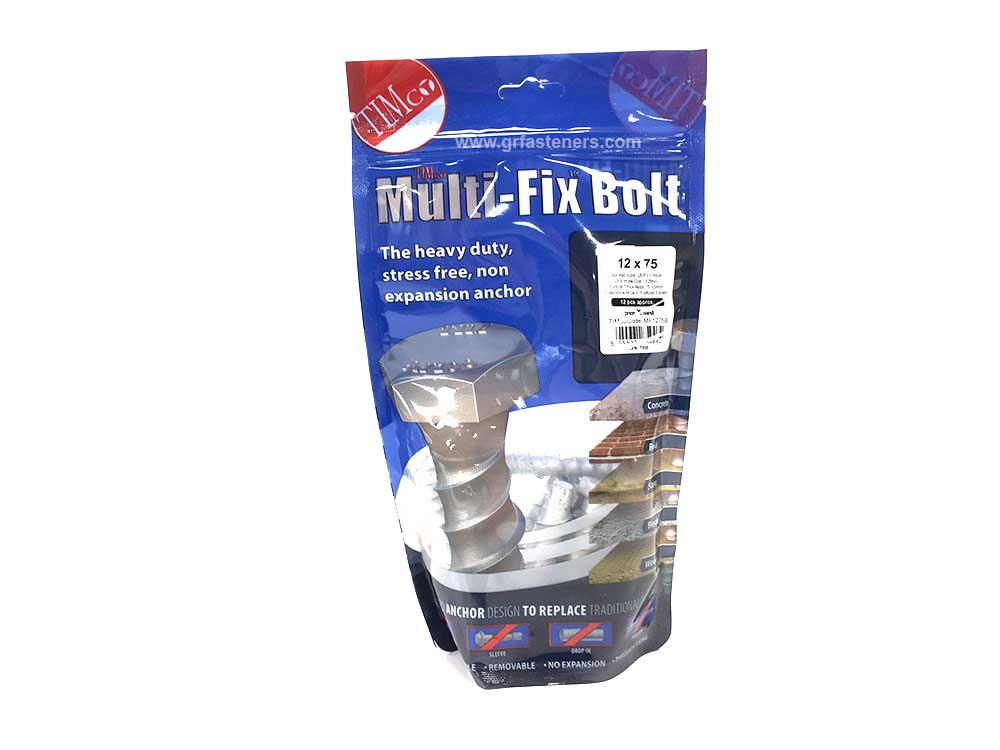 TIMco 12 x 75/M14 Multi-Fix Bolt Hex Head Bag Of 12