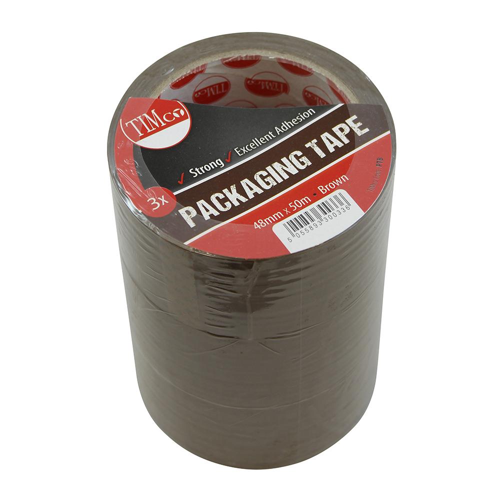 TIMco 50m x 48mm Packaging Tape - Brown Pack Of 3